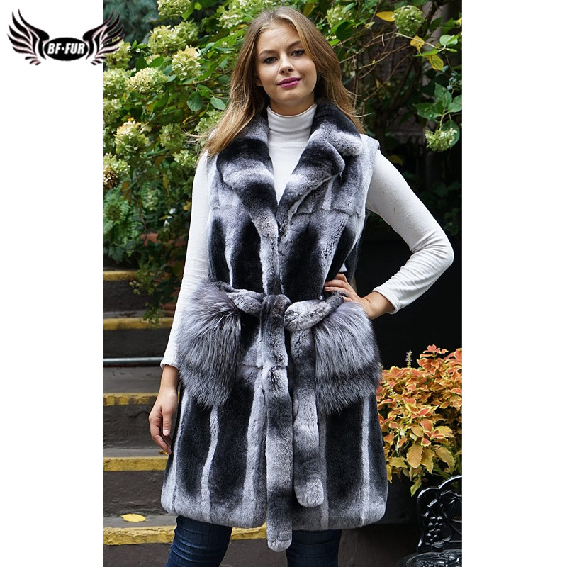 Fashion Real Chinchilla Rex Rabbit Coat Sleeveless Lapel Collar Natural Women Genuine Rex Rabbit Fur Vest With Belt Winter Coats