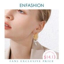 Enfashion punk múltiplo c forma do parafuso prisioneiro brincos para mulher cor de ouro ol minimalista brincos geométricos moda jóias e191079