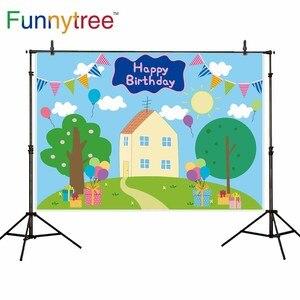 Image 2 - Funnytree الربيع الأزرق أول عيد ميلاد خلفية الطفل استحمام الطفل راية دعامة أرضية حظيرة الخنازير خلفية صور منطقة التصوير photophone