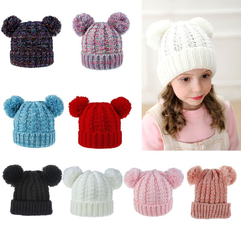 Kids Girls Boys Double Hair Ball Twist Pattern Beanies Hat Casual Children Soft Winter Warm Knitted Cute Cap 8 Styles