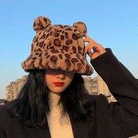 Winter Mode Nette Leopard Bär Ohr Eimer Hut Für Frauen Dicke Warme Faux Pelz Furly Fischer Kappe Außen Schutz Weichen panama