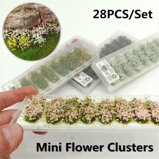28 Uds. Modelo escena terreno producción simulación flor clúster salvaje Rosa flor DIY miniatura paisaje Material