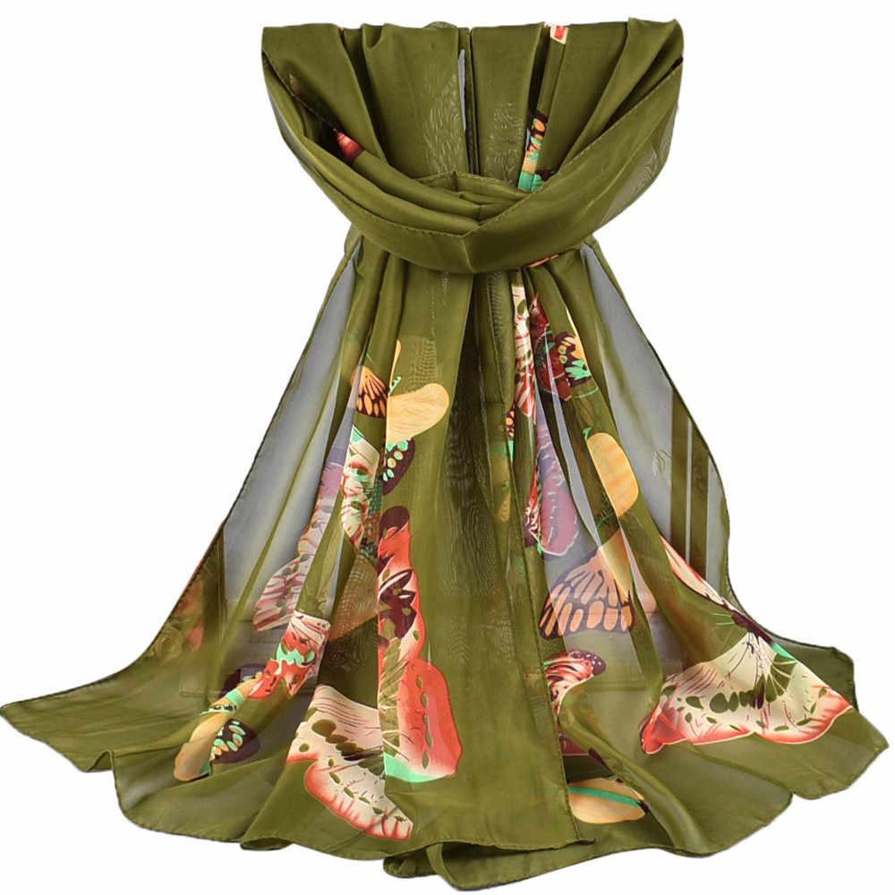 שיפון חיג 'אב נשים חורף צעיף רך צעיף ארוך צעיפי גבירותיי סתיו רך צעיפי יפה פרפר צעיף צעיף פונצ' ו
