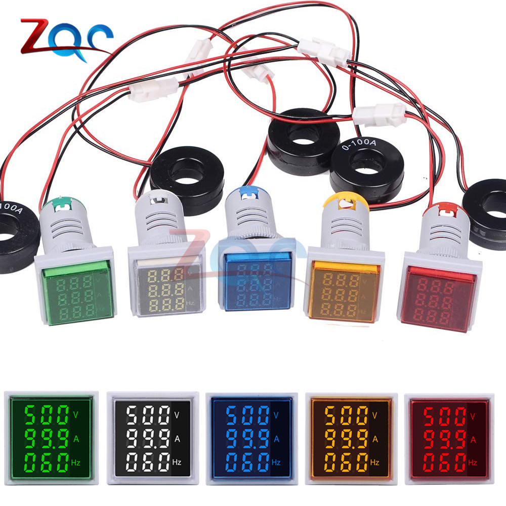 Square LED Digital Voltmeter Ammeter HZ Hertz Meter Signal Lights Voltage Current Frequency Combo Meter Volt Indicator Tester