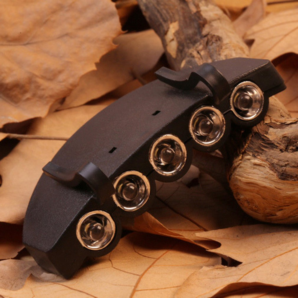 5 LED Cap Hat Brim Clip Lamp Head Light Headlight Headlamp Working In Darkness Places Fishing Camping Hiking And Outdoor