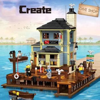 2020 new The Old Fishing Store Dive Shop City Creator Street View MOC Model Building Blocks Lepinblocks bricks Kits Toy gift 1