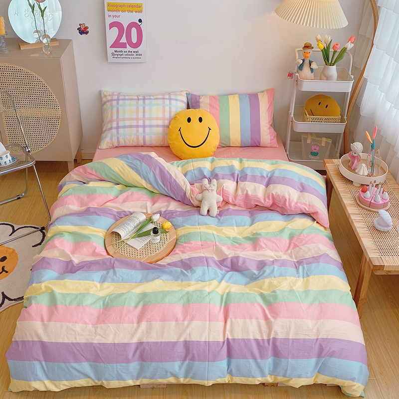 OXYGEN Soild Cotton Beddiing Set 4pcs Duvet Cover Queen Size Bed Sheet Set Twin Bed linen Striped Square Home Textiles
