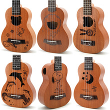 21 Inch 15 Frets Mahogany Soprano Bass Guitar Ukulele Guitar Sapele Rosewood 4 String Guitararra Hawaii Guitar Instrument uk dream 21 inch peach mini ukulele guitar hawaii 4 string acoustic robbit pattern ukulele soprano guitar us zhtu