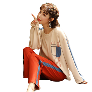 Image 5 - BZEL New Autumn Womens Sleepwear Cosy Cotton Pajamas Cartoon Round Neck Nighty Pijamas Femme Household Clothes Underwear M XXL