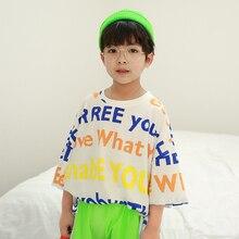 цена на NARNARLARLAR 2020 Summer Kids Boy Sports T shirt Letter Print O-neck Loose Short Sleeve T shirt Teen 5 6 7 8 9 10 11 12 Years