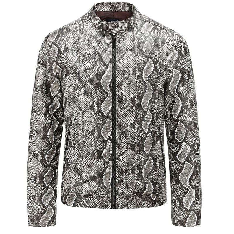 New Men's Leather Jackets Men Coats Fashion Washed PU Leather Outerwear Male High Quality Snakeskin Grain Men's Leathe Jacket