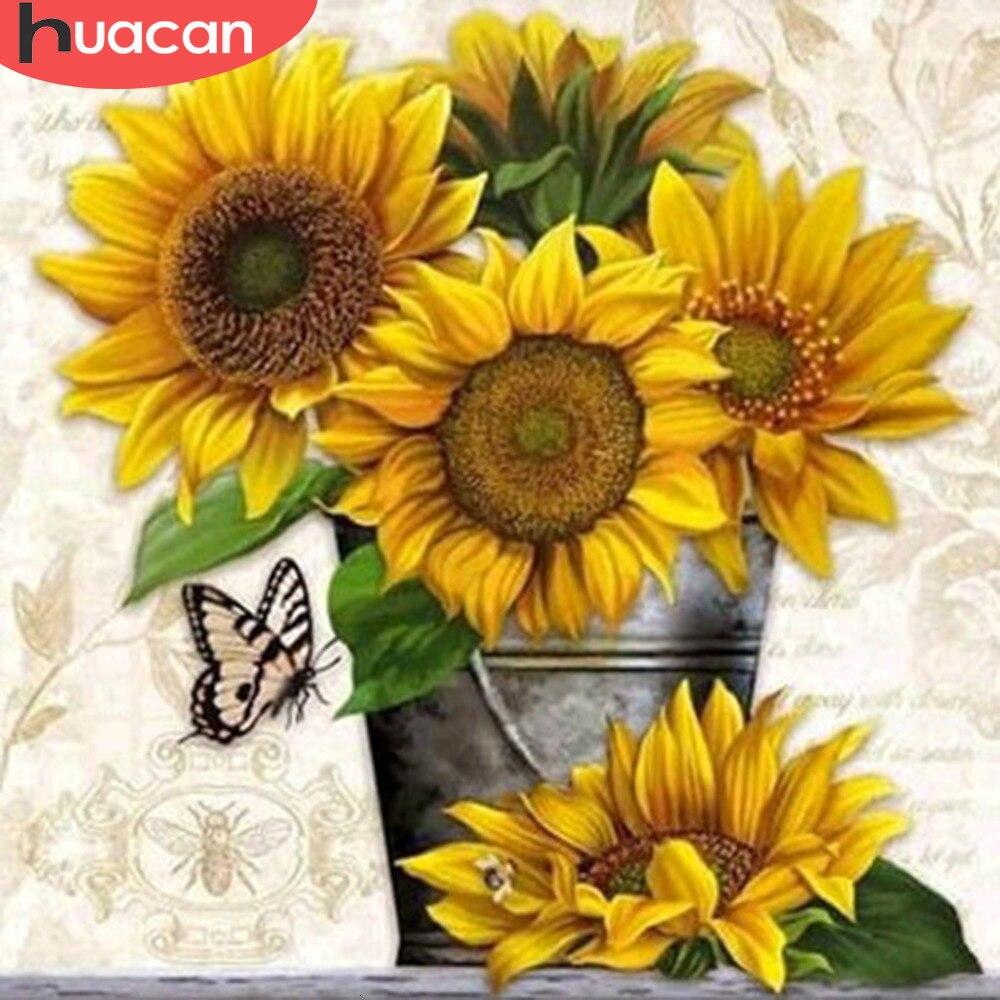 Huacan 5d Diy Diamond Lukisan Bunga Matahari Dekorasi Rumah Penuh Bor Rhinestone Persegi Kerajinan Kit Art Bordir Gambar Berlian Lukisan Cross Stitch Aliexpress