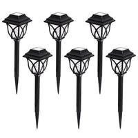 6 Pcs Solar Powered Garden Outdoor Waterproof LED Bulb Decoration Black Lawn Lamp Energy Saving Durable Yard Easy Install