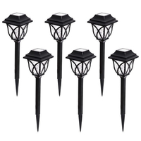 6 Pcs Solar Powered Garden Outdoor Waterproof LED Bulb Decoration Black Lawn Lamp Energy Saving Durable Yard Easy Install