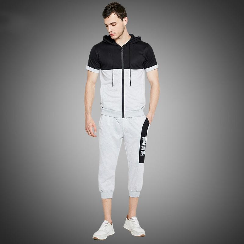 Summer Men Shorts Set Europe Size Sporting Mens 2pcs Top And Shorts Tracksuit For Men Short Set Hoodie Tshirt Set Sporting Suit