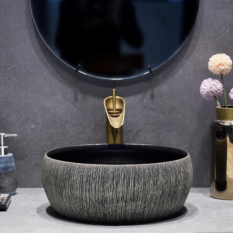 Art Lavabo Bathroom Vessel Sinks Round Counter Top Patterned Ceramic Wash Basin Bathroom Sink Black Bathroom Vessel Sinks Ceramic Sinkvessel Sink Aliexpress