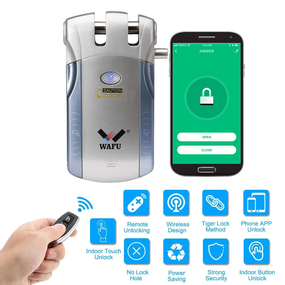 Wafu HF-010 Wireless Smart Lock Electronic Door Lock Phone Control Invisible Lock Remote Control Indoor Touch Switch locks