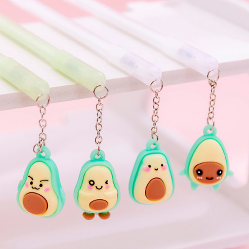 1pcs Avocado Pendant Gel Pen0.38mm Novelty Stationery Cute Pens Student Cute Gel Pen Black Signature Pens Kawaii School Supplies