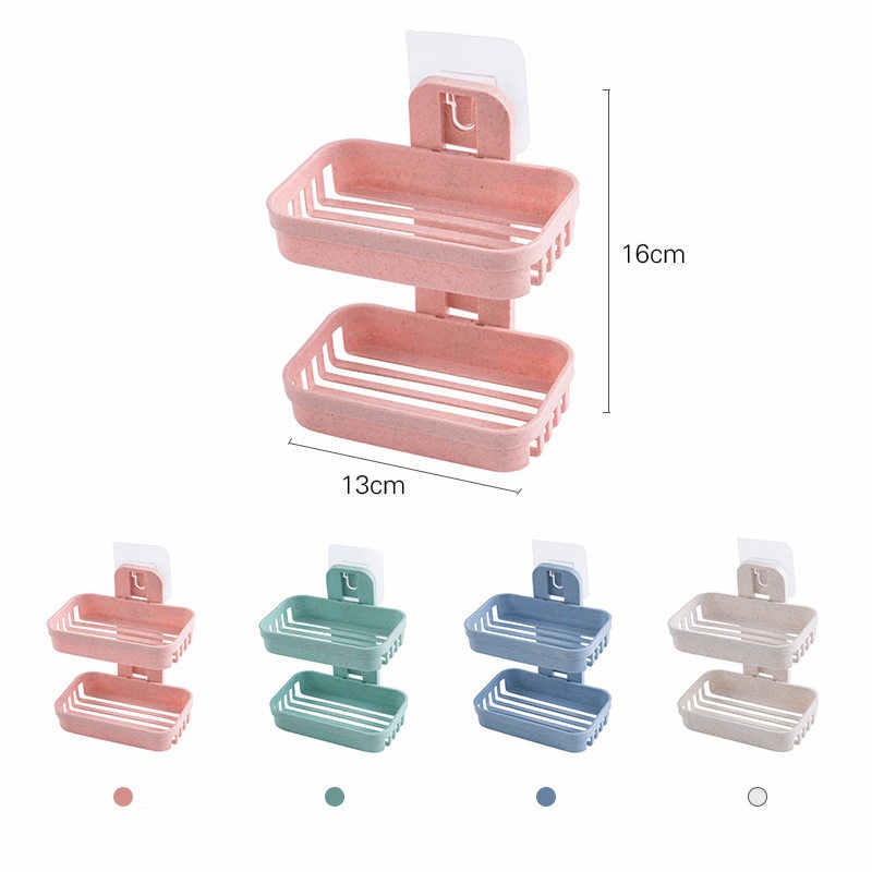 2019 浴室吸盤ソープディッシュプラスチックホルダー壁掛けダブルデッキクリエイティブ排水石鹸収納ダブルラック u3
