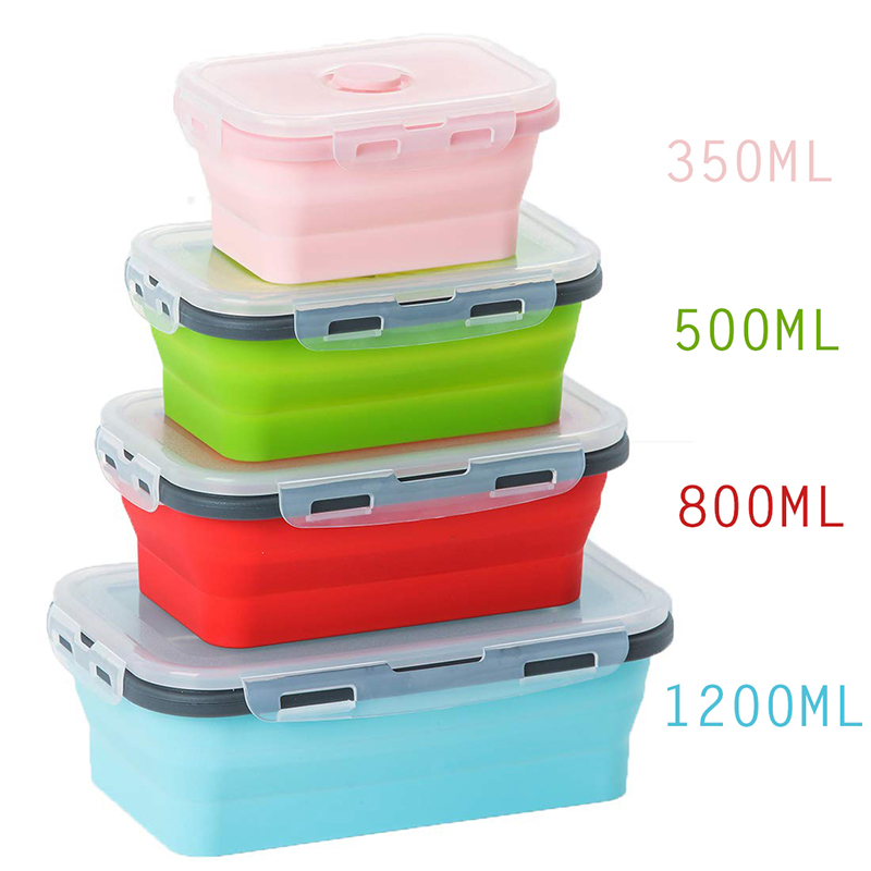 4 Sizes Collapsible Silicone Food Container Portable Bento Lunch Box Microware Home Kitchen Outdoor Food Storage Containers Box