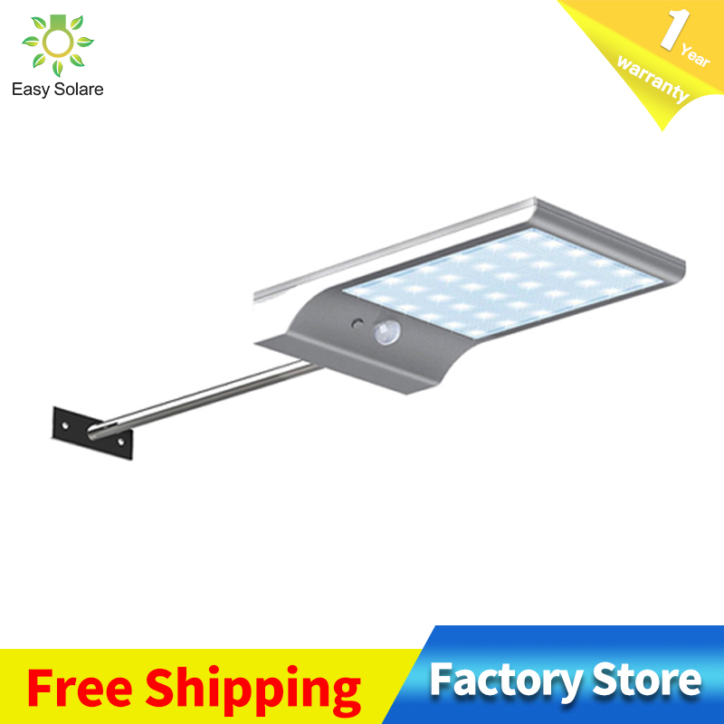 Ultra-thin 450LM 36 LED Solar Street Light PIR Human Sensing Light Garden Safety Lamp Outdoor Waterproof Street Light Wall Lamp