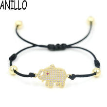 ANILLO Women Red Thread Silver Color Elephants Bracelet Animal Black Charm Bracelets 6 Mm Copper Beads Adjustable Girl Jewelry(China)