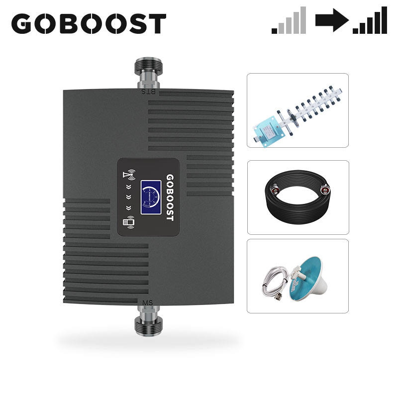 GOBOOST  LTE 1900MHz 3G 4G Signal Booster  Cell Phone Repeater PCS Amplifier 1900 MHz Yagi Antenna Cable Sets