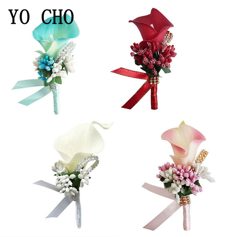 YO CHO Corsage Boutonniere Pin Wedding Corsage Boutonniere For Groom Bridesmaid Flower Calla Lily Buttonhole Men Wedding Witness
