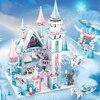 Для девочек Снежный мир ледяной замок набор строительных блоков Кирпичи для друзей Развивающие игрушки для девочек рождественские подарки...
