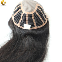 TP02 20 French Lace Front Connected to Fine Mono Human Hair Women Toupee Half Wefted Straight Long Chinese Virgin Hair Pieces