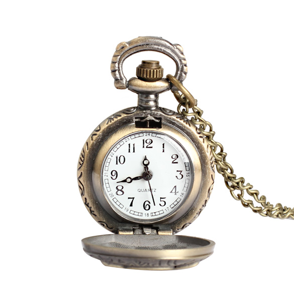 Women Men Pocket Watch Vintage Retro Small Size Owl Caving Pattern Long Necklace Clock XRQ88
