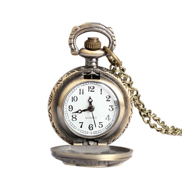 Women Men Pocket Watch Vintage Retro Small Size Owl Caving Pattern Long Necklace Clock XRQ88