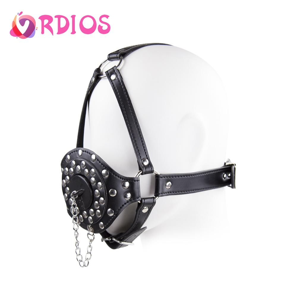 Head-Harness Open Mouth Gag Leather BDSM Bondage Restraints Rivet Slave Mask Muzzle Ring For Couples Women Games Adult Sex Toys