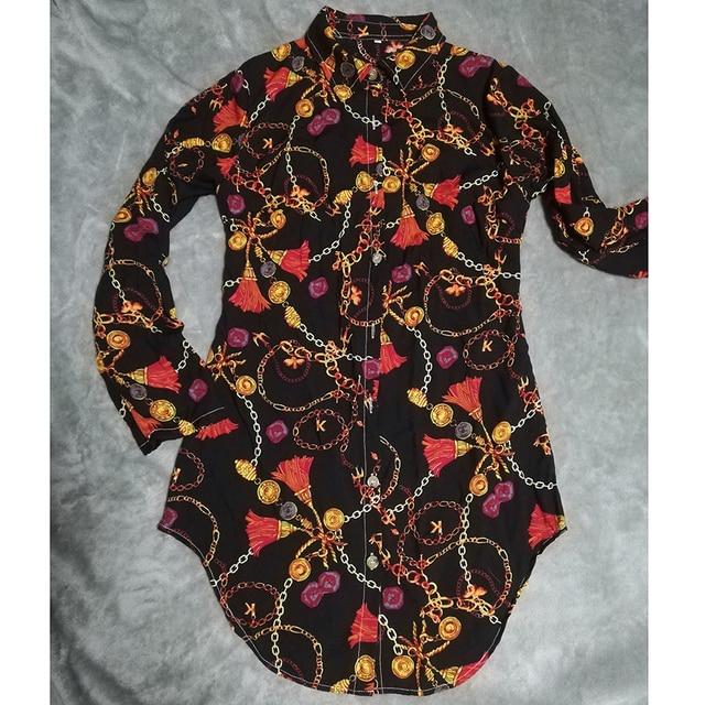 Vestido estampado de encaje para mujer, ropa Sexy para discoteca, corta, dobladillo de curva, estampado de cadena, cinturón, informal, camisa, variedad opcional 4