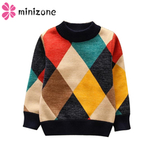 2019 New O-Neck Boys Sweaters Baby Stripe Plaid Pullover Knit Kids Clothes Autumn Winter Tops New Children Sweaters Boy Clothing