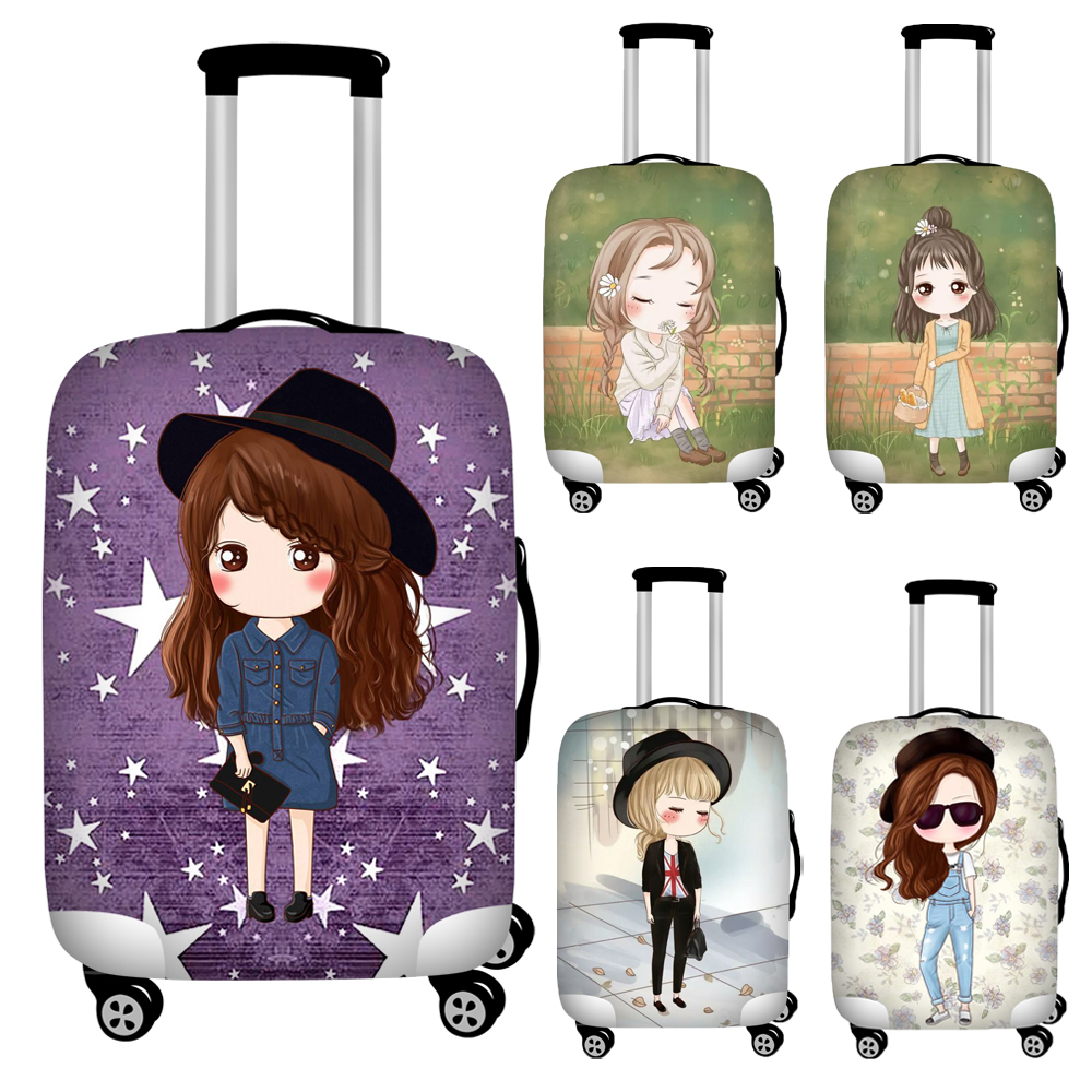 Nopersonality Fashion Girl Printed Thick Luggage Cover  Polyester Elastic Suitcase Cover Travel Trolley Case Protective Covers