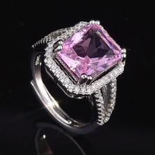 Роскошные кольца из стерлингового серебра 925 пробы, обручальное кольцо с розовым Rubellite, романтический дизайн, свадебное кольцо для женщин, к...