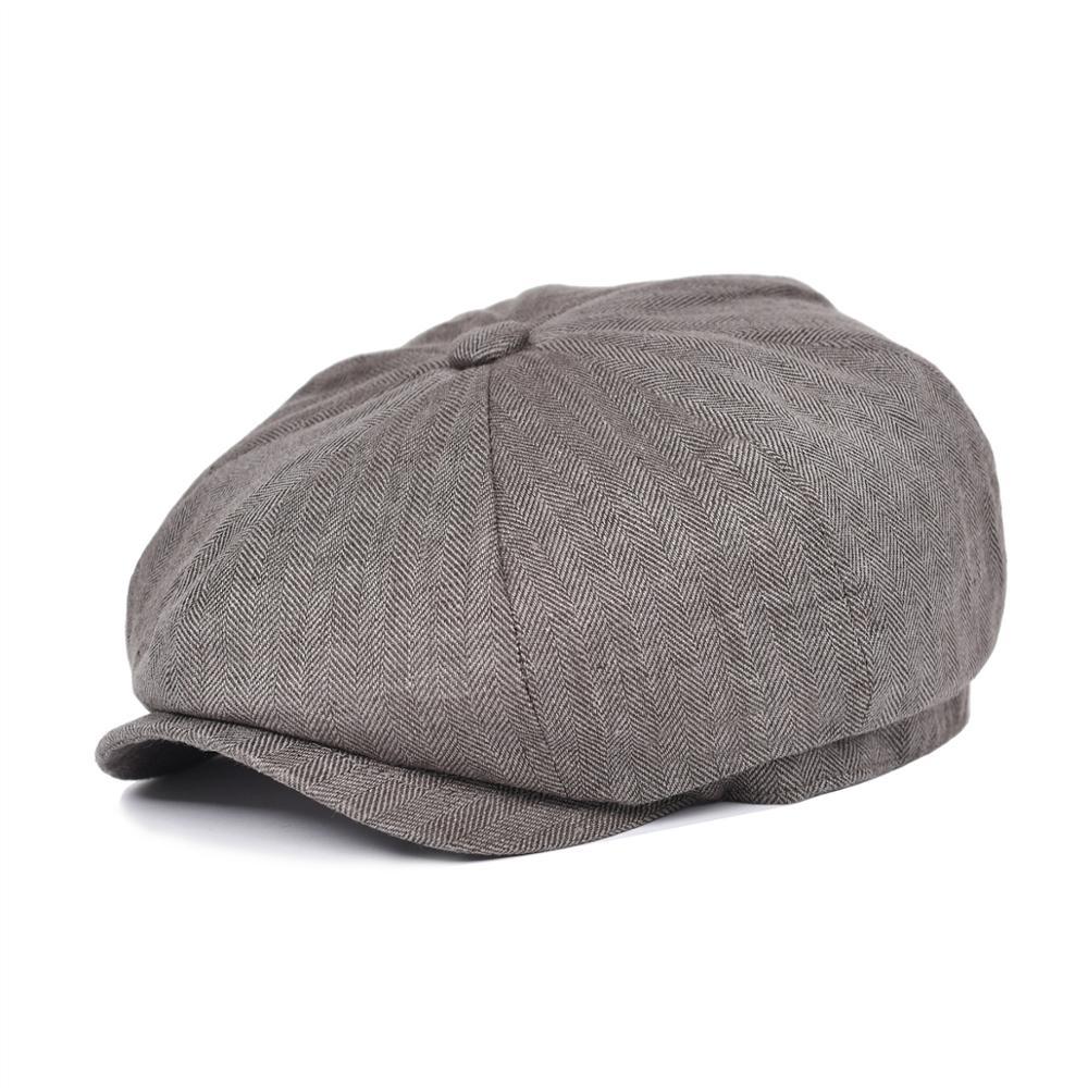 BOTVELA Herringbone Linen Bakerboy Caps Newsboy Cap Men Women Lightweight Breathable Flat Hat Apple Beret Hats 007