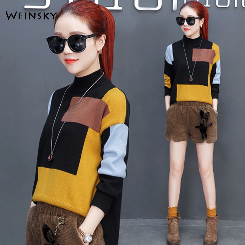 Women Turtleneck Knitted Sweater And Pullovers Korean Fashion Casual Style Female Sweaters 2019 Autumn And Winter New Tops