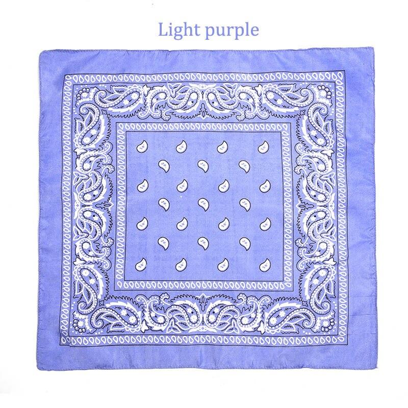 55 см* 55 см, унисекс, черная бандана, модный головной убор, повязка на голову, шейный шарф, повязки на запястье, квадратные шарфы, платок с принтом, Прямая поставка - Цвет: Light Purple