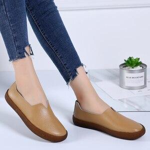 Image 4 - STQ 2020 ผู้หญิงฤดูใบไม้ร่วง Flats รองเท้าผ้าใบรองเท้าหญิงรองเท้าหนังผู้หญิงสุภาพสตรีแบนลื่นบนรองเท้าผ้าใบรองเท้า 908