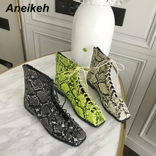 Aneikeh Women Zipper Boots Snake Print Ankle Boots For Women Flat Casual Shoes Lace Up Female Boots Party Shoes zapatos mujer