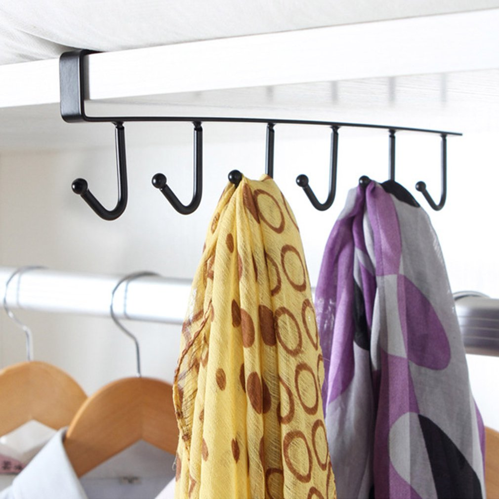 Wrought Iron Cabinet Storage Rack Multi-Function Row Hooks Wardrobe Finishing Rack Kitchen Seamless Nail-Free Hook