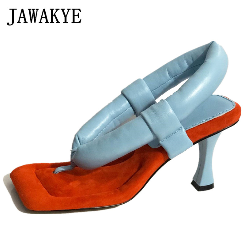 Summer Runway Shoes High Heel Flip FLops Color Blocking Fashion Padded Leather Thong Sandals Plus Size Women's Party Shoes