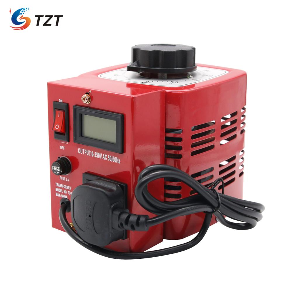 TZT APS-500W 0.5KW 220V Variac Variable Transformer Voltage Regulator Powerstat 0-250V Output EU Plug