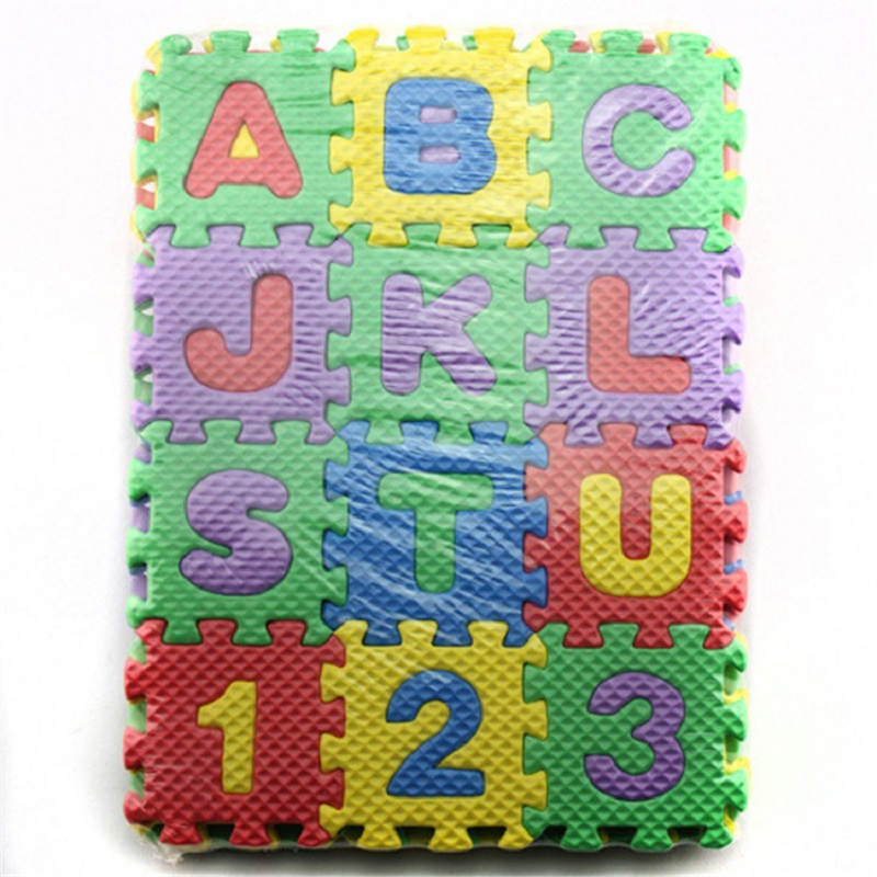 RCtown 36 Pieces Child Cartoon Letters Numbers Foam Play Puzzle Mat Floor Carpet Rug For Baby Kids Home Decoration 31.5x31.5cm