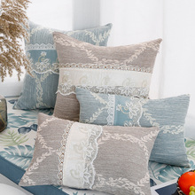 Drop Shipping Simple Countryside Pillow Cover Lace Romantic Danube Blue Cushion Bedside Home Decor Lumbar Pillowcase