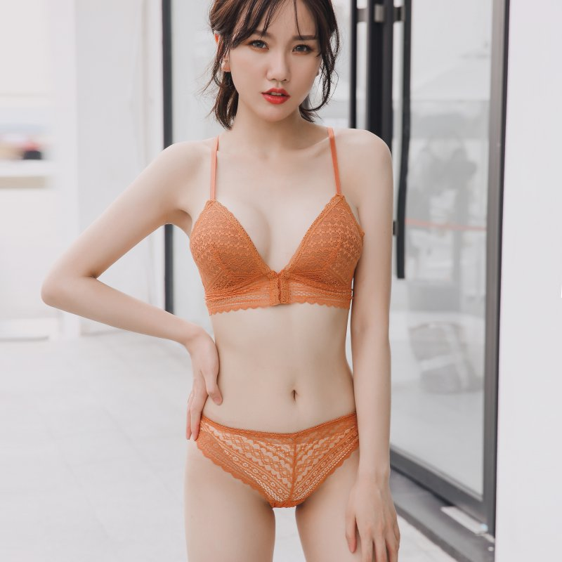 Sexy Lace Lingerie   Bra     Set   Women 3/4 Cup Front Buckle   Bra     Sets   Wire Free Push-Up   Bra   +Hollow   Briefs   Underwear Solid   Set   x