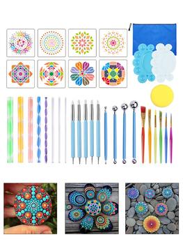 16 18 34 35 sztuk Mandala rozsianych narzędzia do malowania skały Mandala malowanie rozsianych wzornik Dot Mandala zestaw paznokci Rock tkaniny Art tanie i dobre opinie CN (pochodzenie) Painting Tools Kit