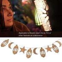 Juego de adornos de madera para colgar en la Luna, placa de madera con cuerda larga de cáñamo, decoración de Ramadán, Islam, Eid, Mubarak, 1 unidad